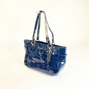 Coach Blue Gallery Embossed Signature Tote Bag